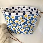 Knitting project bag / daisies large drawstring knitting / crochet project bag
