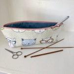 Cats knitting project bag / knitting needle bag/ make up bag