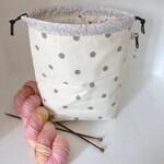 Taupe dotty floral mini drawstring sock knitting / crochet project bag