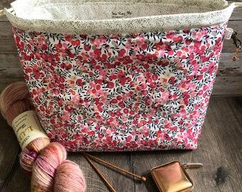 Knitting project bag / pink ditsy floral metallic large drawstring knitting / crochet project bag