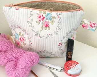 Floral stripe knitting/crochet project bag