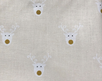 Christmas fabric 100% cotton reindeer fat quarter or metre epp quilting - extra wide