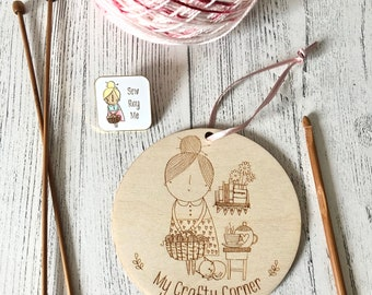 Crafting / knitting nook wooden disc sign (double sided)