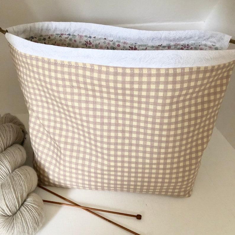 Knitting project bag / taupe gingham floral large drawstring image 0
