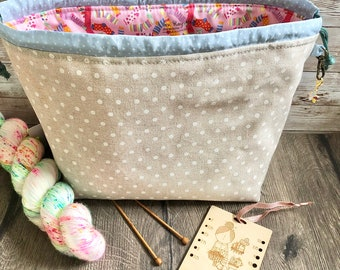 Knitting project bag / dotty sock large drawstring knitting / crochet project bag