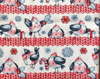 Christmas fabric 100% cotton knitted robin fat quarter or metre epp quilting - extra wide