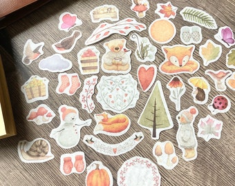 Autumn journal stickers cute hygge cosy wildlife winter stickers journaling scrapbook travellers notebook