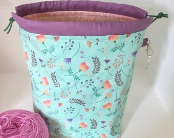 Aqua floral mini drawstring sock knitting / crochet project bag