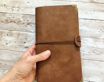 Faux vegan leather travellers notebook journal with inserts and pockets