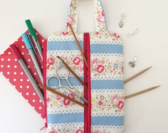 Project bag / Cath Kidston blue stripe floral make up bag/ knitting / planner / notions pouch/ pencil case/ double zip pouch