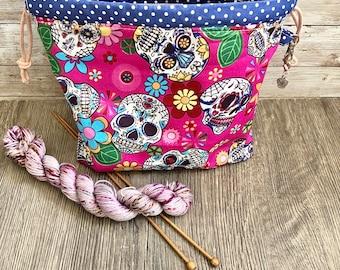 Sugar skull / Halloween / DINKY drawstring knitting / crochet notions bag / eco gift bag