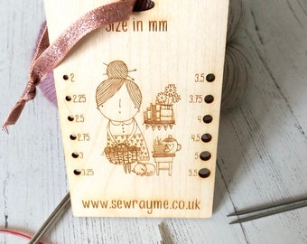 Knitting needle gauge / sewrayme / circular needles / dpns / needle measurer / sock knitting