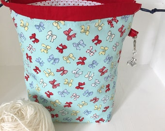 Retro bows mini drawstring sock knitting / crochet project bagI