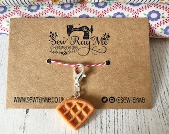 Breakfast waffle / crochet / knitting stitch marker /  progress keeper