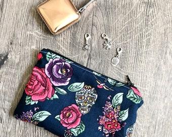 Notions pouch / purse / Halloween sugar skull / knitting / crochet project bag