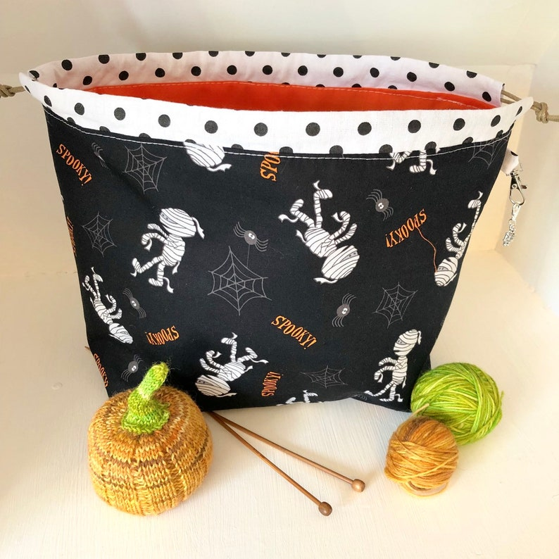 Knitting project bag / halloween mummies mummy large image 0