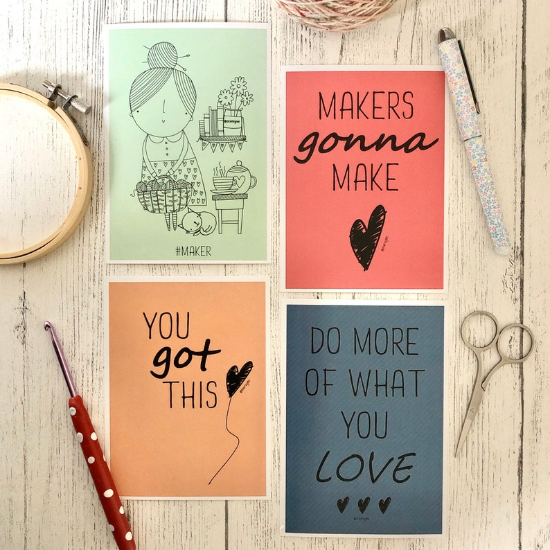 Crafting / positivity postcard set image 0