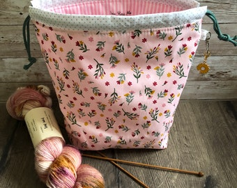 Metallic floral mini drawstring sock knitting / crochet project bag