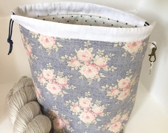 Tilda floral rose mini drawstring sock knitting / crochet project bag