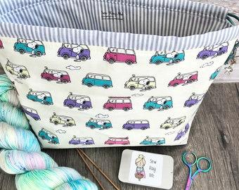 Knitting project bag / snoopy peanuts campervan large drawstring knitting / crochet project bag
