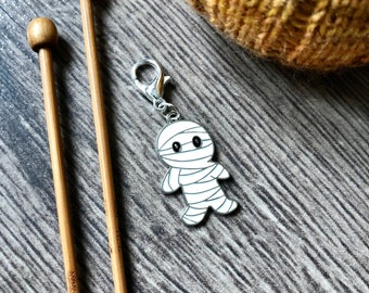 Halloween mummy stitch marker/progress keeper / travellers notebook charm