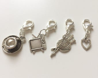 Stitch marker set - knitting/crochet, coffee/tea and tv/Netflix
