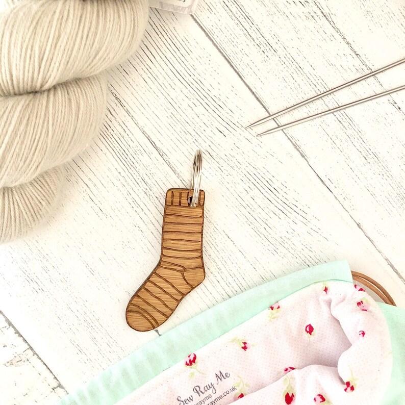 Hand knit sock knitted knitters keyring keyfob image 0