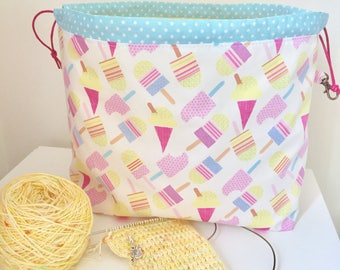 Lollies and ice cream drawstring knitting/crochet project bag