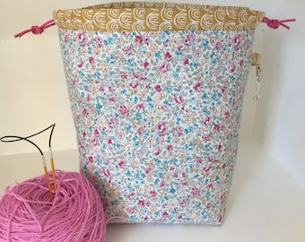 Knitting project bag / ditsy floral mini drawstring / sock knitting / crochet project bag