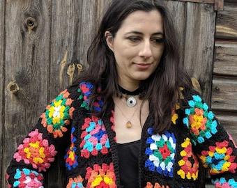 Granny square cardigan /festival clothes/colourful cardigan /