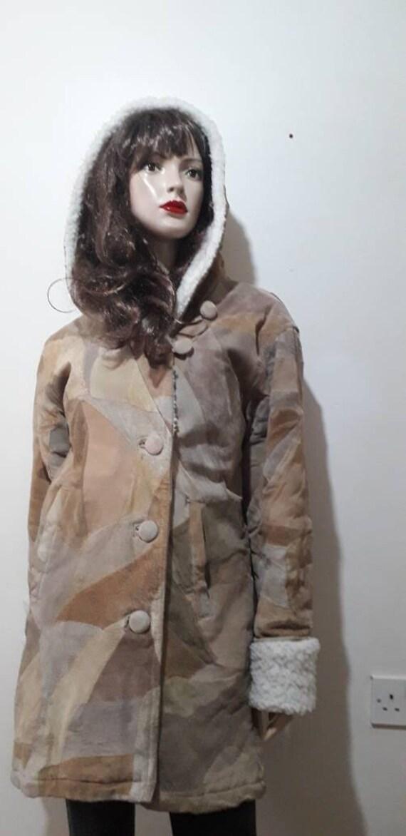 Suede patchwork coat / vintage patchwork coat/ win