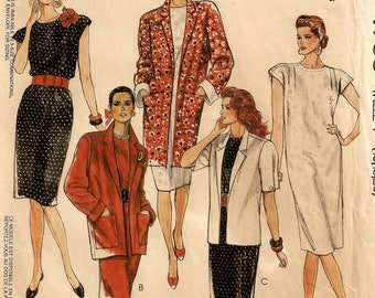 A Pullover, Pleated Shoulder Seams, Extended Sleeve Straight Dress & Unlined Jacket Pattern for Women: Uncut- Sizes 16-18-20 • McCall's 4703