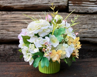 Small Silk Floral Arrangement - White/Yellow/Pink (S18-96)
