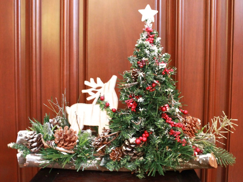 Small Tabletop Christmas Tree Arrangement With Reindeer Etsy