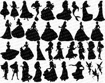beauty the beast silhouettes disney princess belle etsy