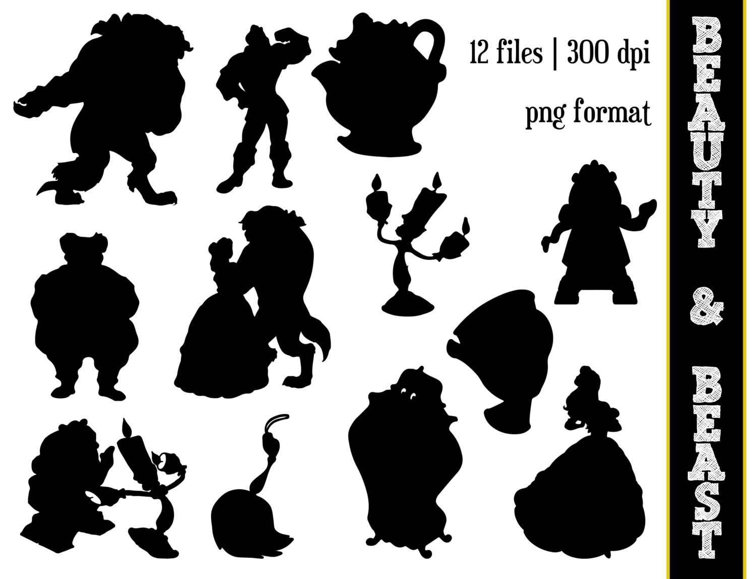 beauty the beast silhouettes disney princess belle etsy