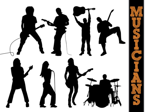 musicians silhouettes musician silhouette music clipart etsy