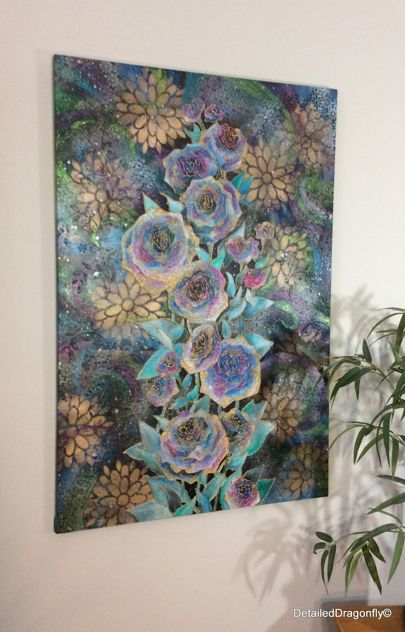 Rose wall art rose painting colorful wall art for home wall art for home original acrylic painting colorful painting gold painting