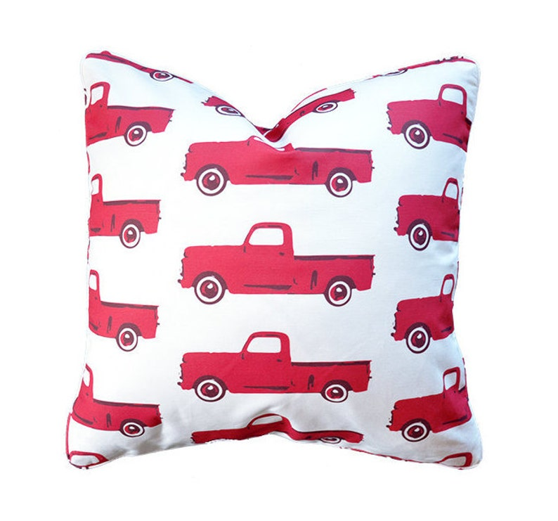 Classic Pickup Truck Pillow in Red  Modern Child Style by image 0