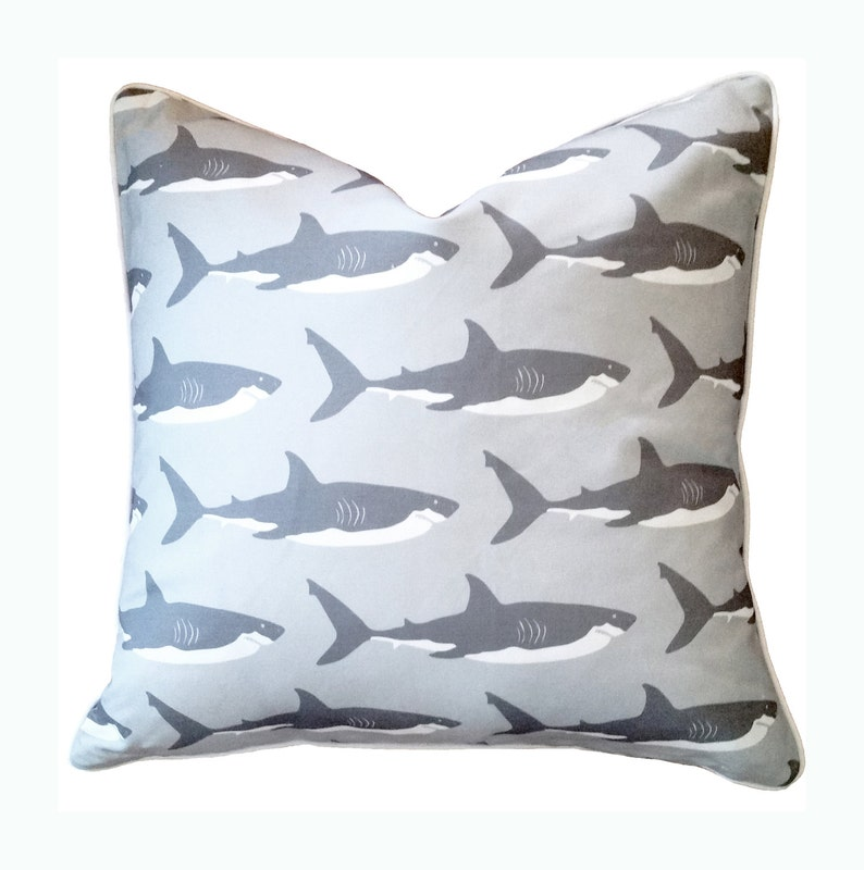 Great White Shark Pillow in Gray  Classic Beach House Decor image 0