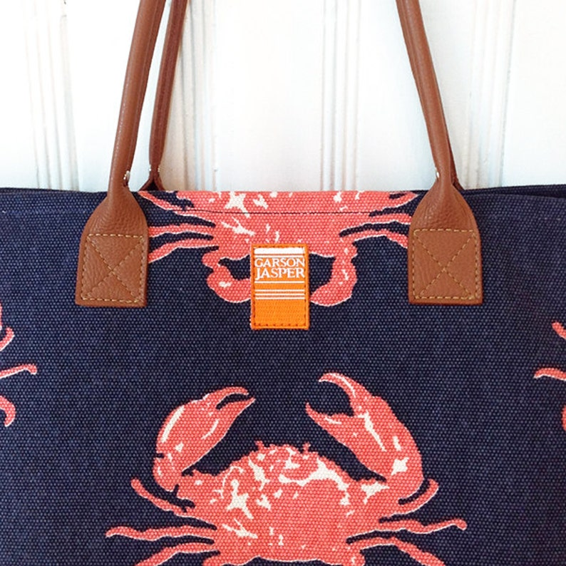 Canvas Island Tote in Coastal Crab Navy  Island Style by image 0