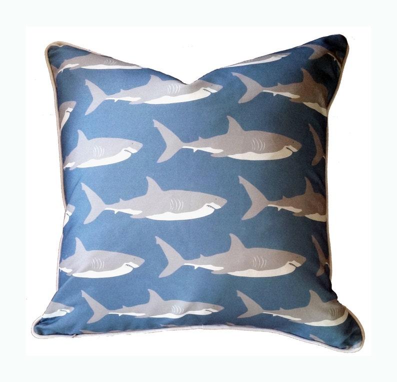 Great White Shark Pillow in Marine  Modern Beach Decor by image 0