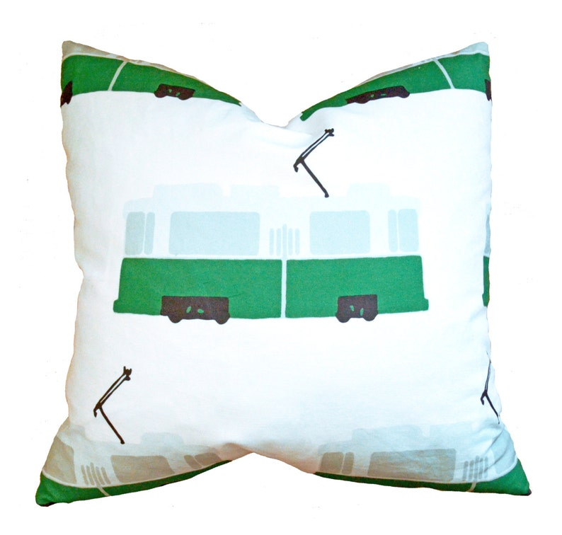 Big Trolley Train Pillow  Modern Minimalist Kids' Bedroom image 0