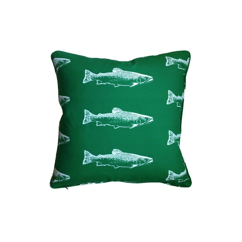 Brook Trout Fish Pillow in Forest  Cottage & Lake House Decor image 0