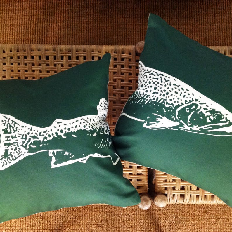 Brook Trout Head & Tail Pillow Set  Camp and Lodge Decor by image 0