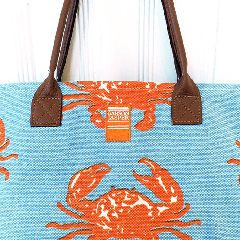 Canvas Island Tote in Coastal Crab Orange  Island Style by image 0