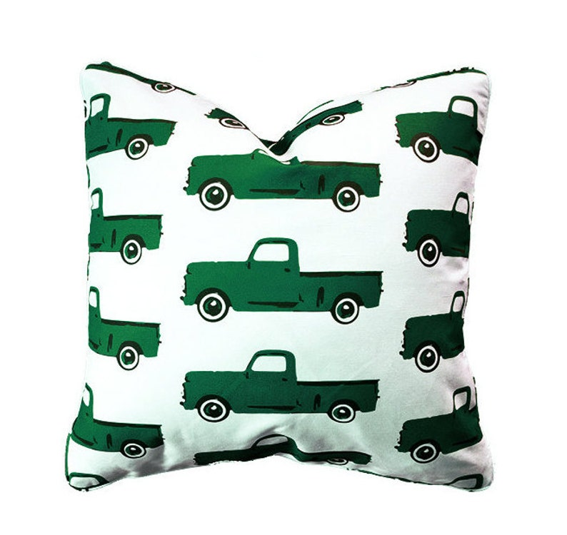 Classic Pickup Truck Pillow in Green  Modern Child Style by image 0