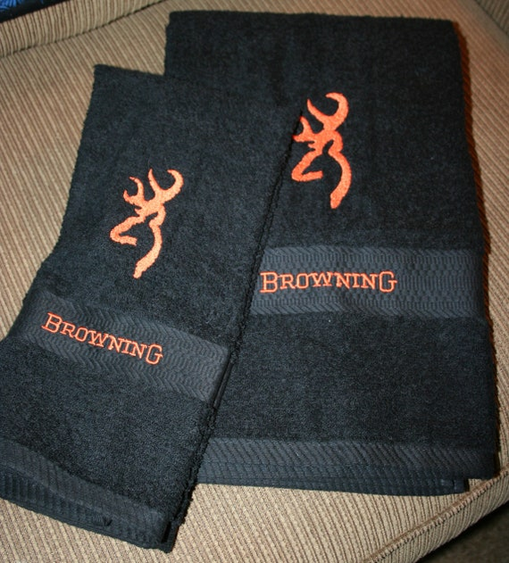 """/""""Browning/"""" Inspired 3pc Brown TowelSet-1BathTowel,1HandTowel,1Cloth Embroidered"""