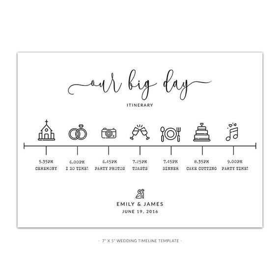 Wedding Timeline Template | Wd5 Wedding Timeline Template White Rustic Look Etsy