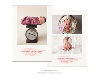 BA6 :. Birth Announcement template   Pink Watercolor
